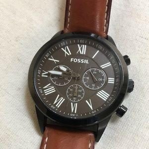 Fossil Quartz Watch with Leather Band